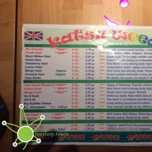 Weed menu from coffeeshop Katsu in February 2017