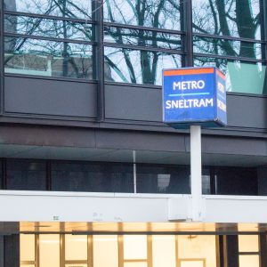 Public Transportation in Amsterdam is marked by different signs. This is the sign for Metro/Sneltram.