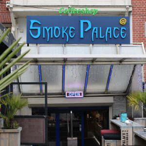 Smoke Palace entrance to a large coffeeshop