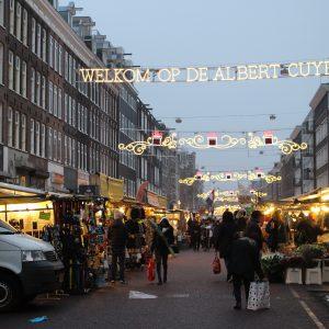 Albert Cuyp Market illuminated during NYE.