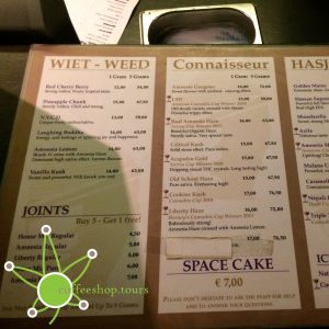 The menu of Coffeeshop Amnesia in February 2017.