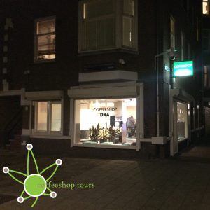 Outside of DNA Coffeeshop in Amsterdam during the night