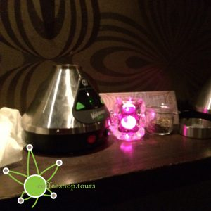 A set of Volcano vaporizers for use in Coffeeshop Amnesia